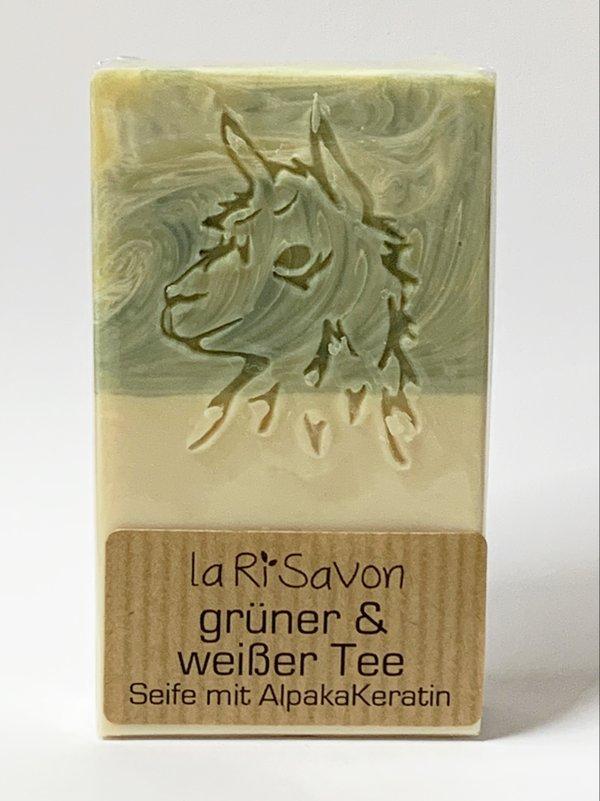 "Alpaka-Keratin Seife - ""grüner & weißer Tee"""