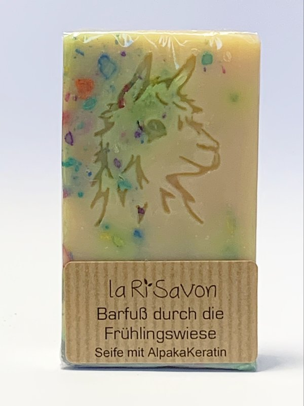 "Alpaka-Keratin Seife - ""Barfuß durch die Frühlingswiese"""